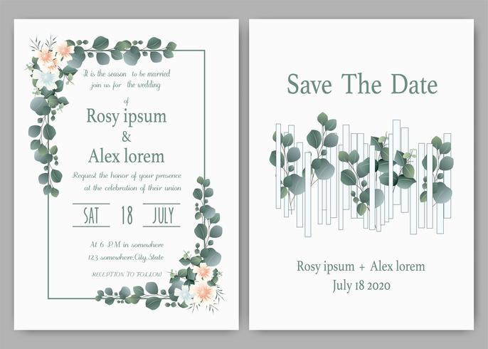 Convite do casamento das hortaliças, convite do casamento do eucalipto do molde. vetor