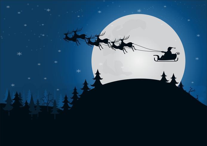 silhueta Papai Noel com trenó de renas acima da colina com a luz da lua na temporada de inverno da floresta vetor