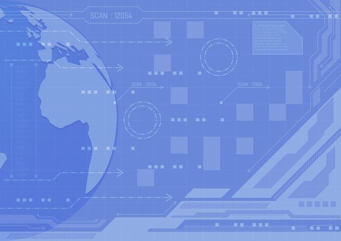 Conceito de tecnologia digital de fundo abstrato de cor azul, ilustração vetorial com cópia espaço novo design vetor