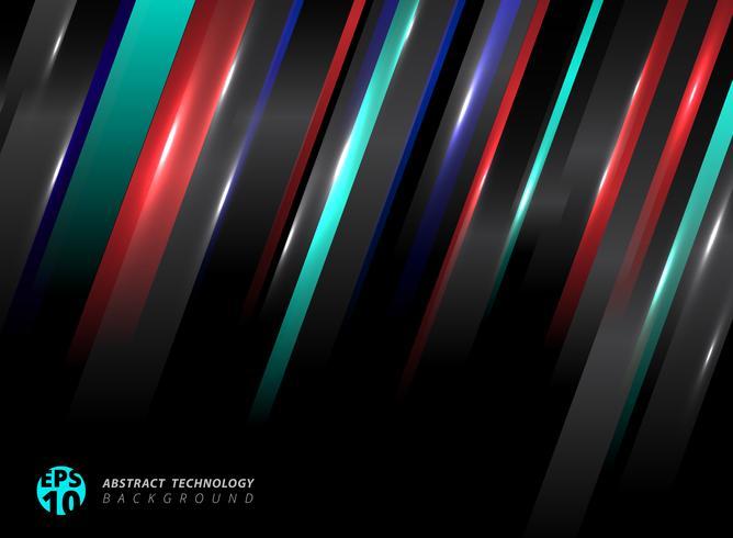 A tecnologia abstrata listrou linhas de cor azuis, vermelhas oblíquas com efeito da luz no fundo preto. vetor