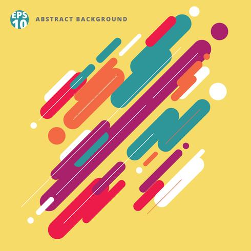 Composição moderna abstrata do estilo feita de várias linhas arredondadas teste padrão colorido no fundo amarelo. vetor