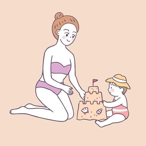 Mamã bonito e bebê do verão dos desenhos animados que jogam o vetor da areia.