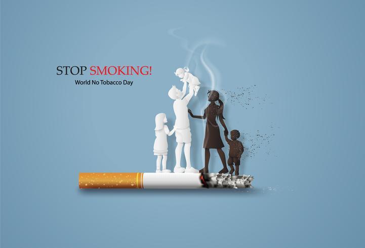 não fumar e Dia Mundial Sem Tabaco vetor