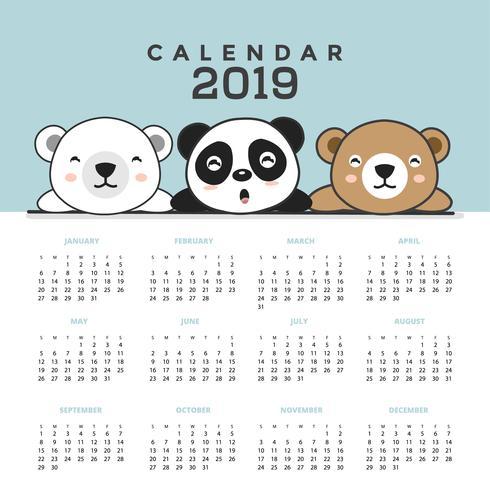 Calendário de 2019 com ursos bonitos. vetor