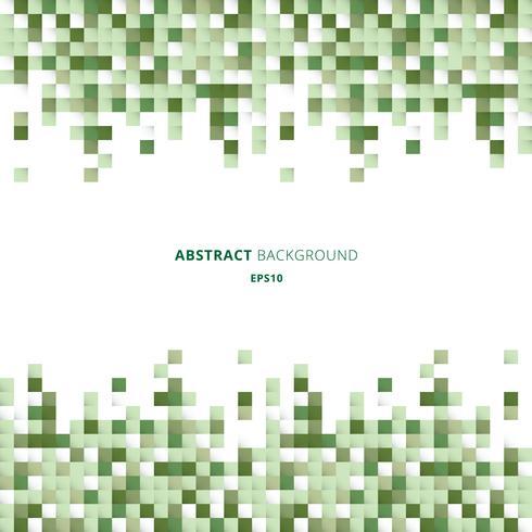 Os quadrados brancos e verdes geométricos abstratos do encabeçamento e dos pés de página modelam o fundo do pixel com espaço da cópia. Você pode usar para design de impressão, anúncio, cartaz, folheto, capa, brochura, modelo. vetor