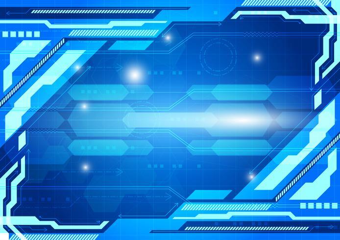 Conceito de tecnologia digital de fundo abstrato de cor azul, ilustração vetorial com espaço de cópia vetor