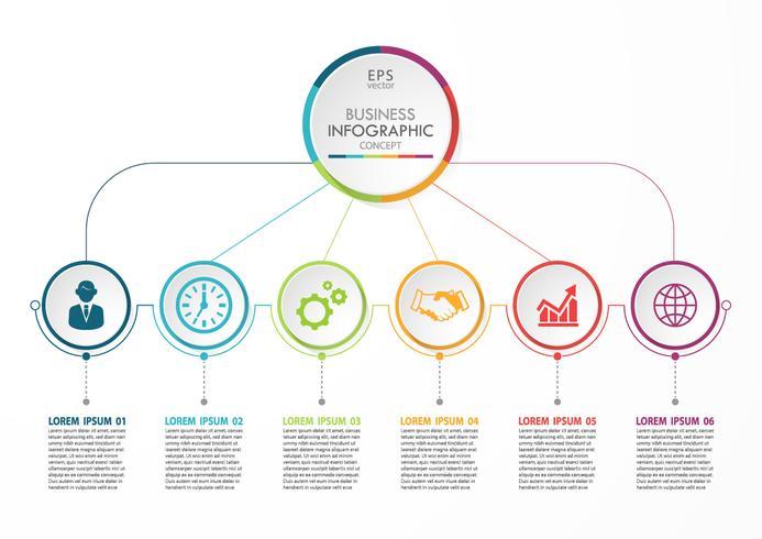 Modelo de infográfico de negócios de apresentação com 6 opções. vetor