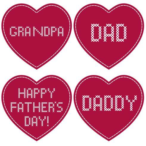 Dia dos pais bordado ponto cruz em corações vermelhos vetor