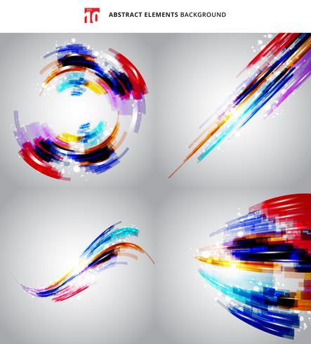 Conjunto de linhas coloridas geométricas de tecnologia abstrata com fundo de efeito de iluminação. vetor