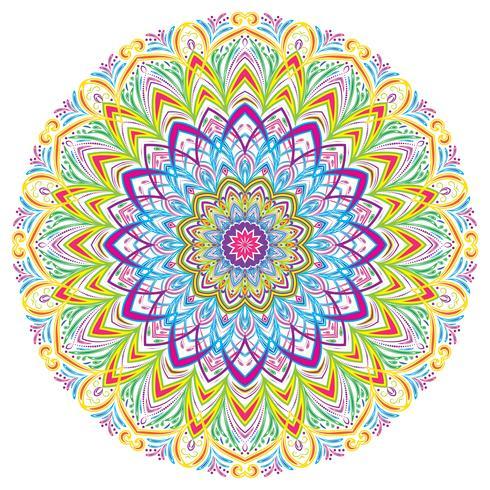 Elementos decorativos coloridos de Mandala Vintage, ilustração do vetor. vetor