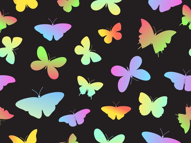 Ilustração em vetor de fundo colorido sem costura padrão de borboleta