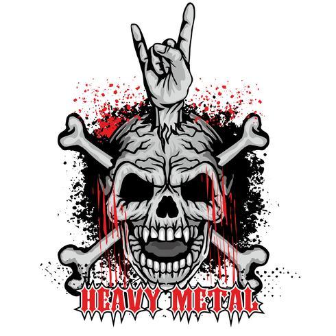 brasão do crânio do grunge vetor