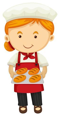 Padeiro feminino segurando pão fresco vetor