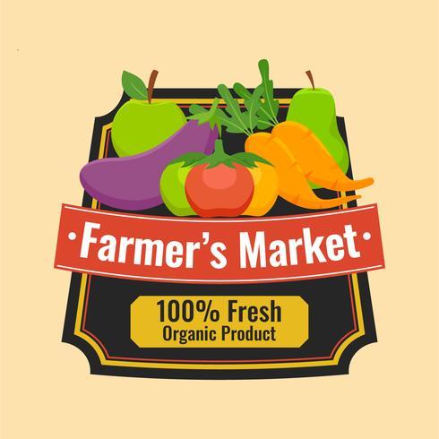 estilo de rótulo flyer design mercado de agricultores vetor