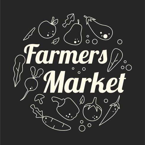 selo flyer design mercado dos fazendeiros vetor