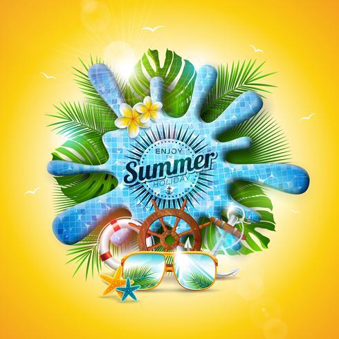 Vector a ilustração das férias de verão com respingo da água da associação e as folhas tropicais no fundo amarelo. Plantas exóticas, flor, óculos de sol e volante de navio