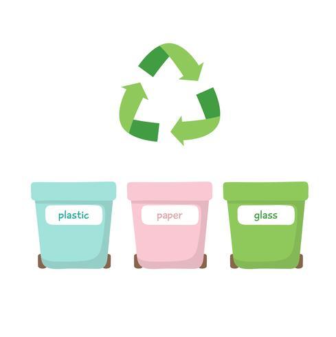 Classificação Waste - ilustração com três escaninhos de lixo diferentes, plástico, papel e vidro. Conceito zero de resíduos, reciclagem. vetor