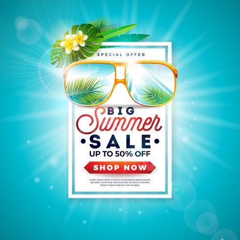 Projeto da venda do verão com letra da tipografia e folhas de palmeira exóticas nos óculos de sol no fundo azul. Ilustração de oferta especial de vetor tropical