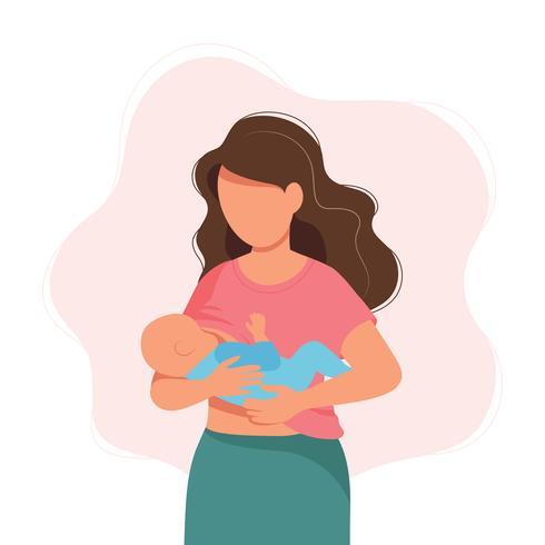Ilustração de amamentação, mãe alimentando um bebê com o peito. Ilustração do conceito no estilo dos desenhos animados. vetor
