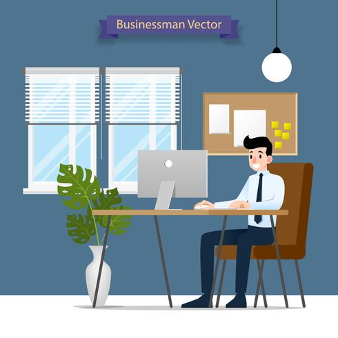 Homem de negócios feliz que trabalha em um computador pessoal, sentando-se em uma cadeira de couro marrom atrás da mesa de escritório. Vector estilo simples ilustração.