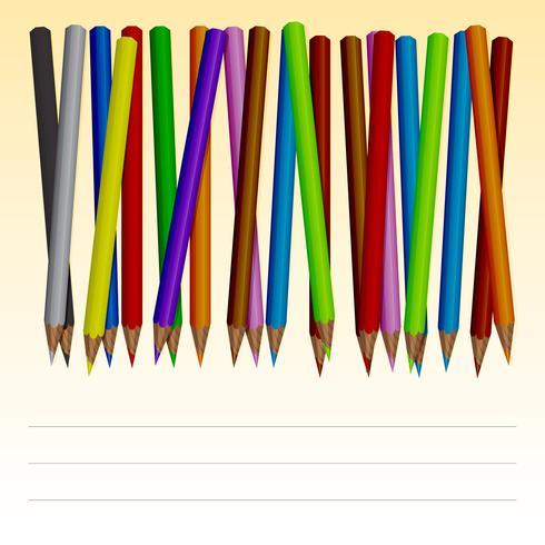 Jogo, de, colorido, lápis vetor