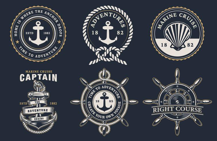 Conjunto de emblemas marinhos vetor