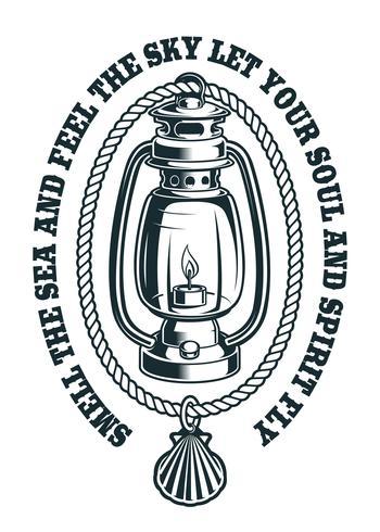 Vetorial, ilustração, de, um, lâmpada querosene, com, corda vetor