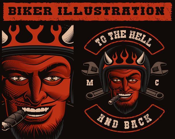 Ilustração em vetor de um motociclista de diabo