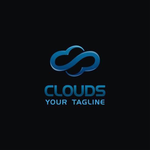 Projeto de conceito criativo do logotipo da nuvem com cor azul da cor, vetor