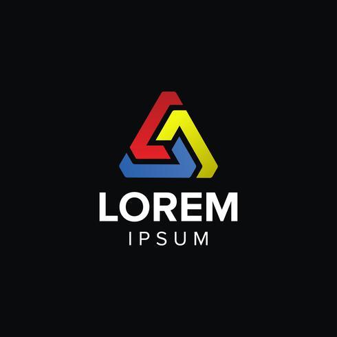 Design de conceito abstrato logotipo criativo com três cores vetor