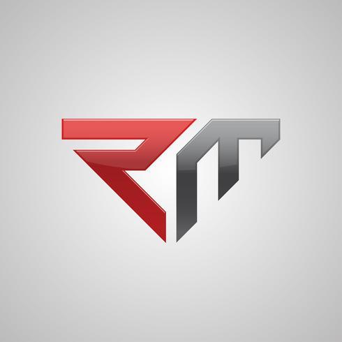 Design de conceito de logotipo RM carta criativa vetor