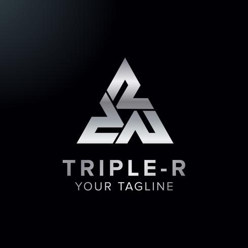 Design de conceito de logotipo criativo letra tripla R com cor de cromo de triângulo vetor
