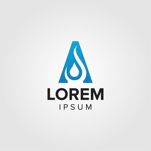 Carta criativa A design conceito conceito do logotipo Aqua com espaço negativo gota de água vetor