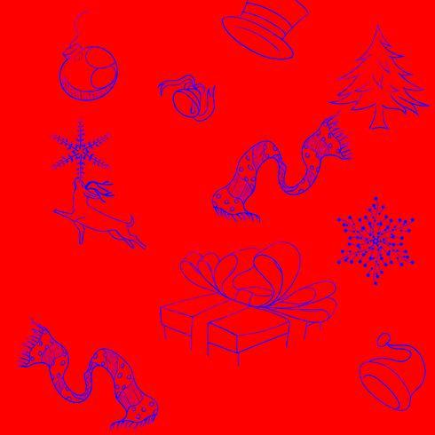 Feliz natal, ícone, ligado, tom vermelho vetor