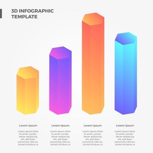 Coleção de vetor infográfico 3D plana