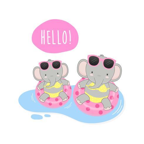 Olá, elefantes fofos de verão eram biquíni e cartoon de anel de natação. vetor