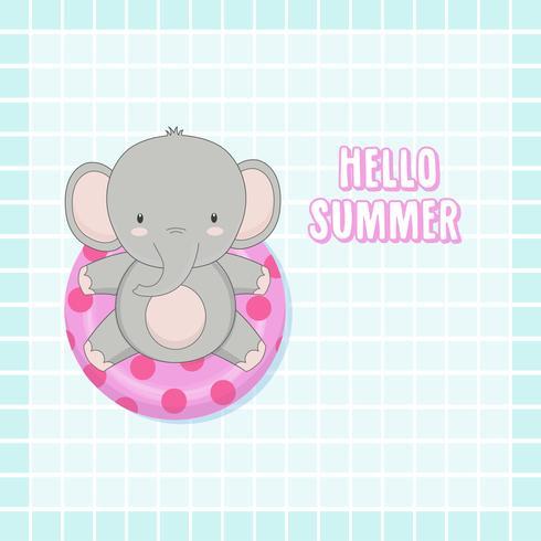 Olá Verão elefante fofo foram nadar anel dos desenhos animados. vetor