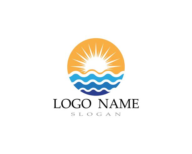 praia do logotipo da água da onda vetor