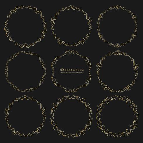 Conjunto de estilo vintage de quadros redondos decorativos dourados. Ilustração vetorial vetor