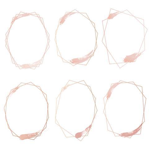 Conjunto de quadro geométrico de ouro rosa, elemento decorativo para cartão de casamento, convites e logotipo. Ilustração vetorial vetor