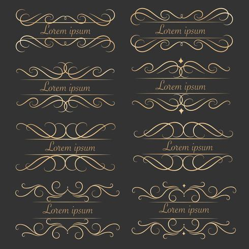 Conjunto De Elementos Caligráficos Decorativos De Luxo Para A Decoração. vetor