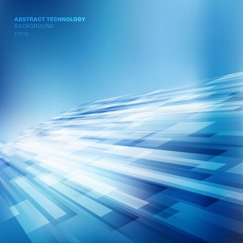 As linhas azuis abstratas sobrepõem o conceito brilhante da tecnologia do fundo da perspectiva do movimento do negócio da camada. vetor