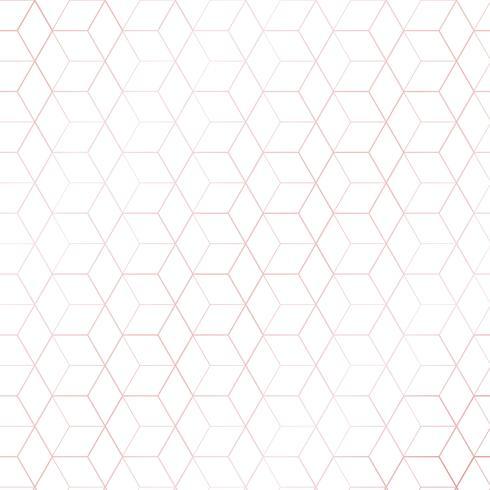 Hexágonos geométricos do ouro cor-de-rosa ou teste padrão do esboço do cubo no fundo branco. estilo de luxo. vetor