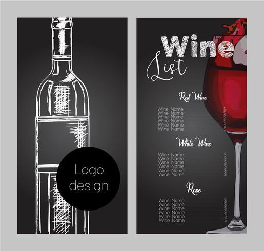 Desenho vetorial para lista de vinhos. vetor