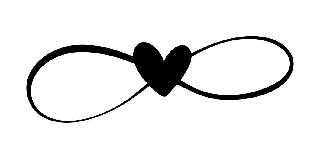 Amor coração no signo do infinito. Cadastre-se no cartão para dia dos namorados, impressão de casamento. Vector caligrafia e lettering ilustração isolado em um fundo branco
