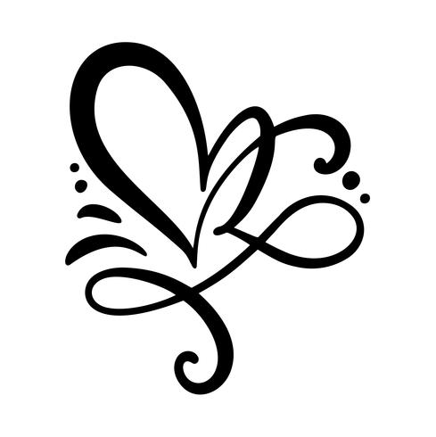 Vetor de caligrafia romântica floreio vintage Coração sinal de amor. Ícone de desenho de mão do dia dos namorados. Símbolo de Concepn para t-shirt, cartão postal, casamento de pôster. Ilustração de elemento plano de design