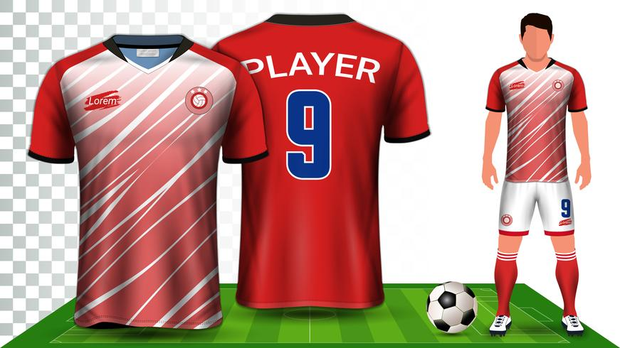 Futebol Jersey e futebol Kit apresentação Mockup modelo. vetor