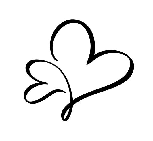 Vetor de caligrafia dois Coração sinal de amor. Romântico mão ícone desenhado do dia dos namorados. Símbolo de Concepn para t-shirt, cartão postal, casamento de pôster. Ilustração de elemento plano de design