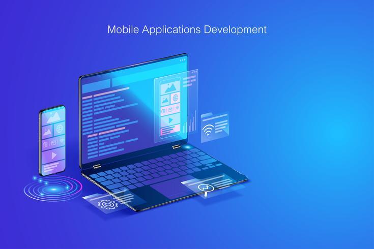 Desenvolvimento Web, design de aplicativos, codificação e programação no conceito de laptop e smartphone com linguagem de programação e código de programa e layout no vetor de tela
