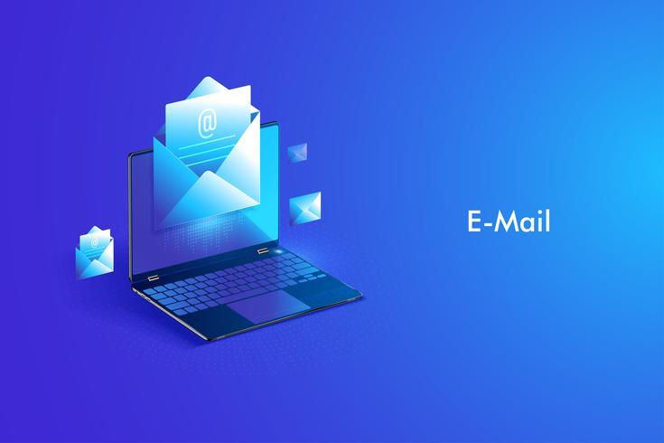 Design isométrico de serviço de e-mail. Mensagem de correio eletrônico e web mail ou serviço móvel vetor
